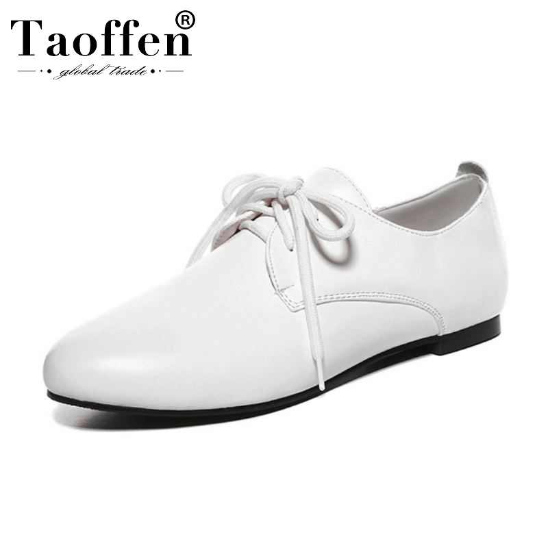 Taoffen Size 31-52 Women Flat Shoes New Fashion Women Spring Office Casual Work Shoes Woman Outdoor Cross Strap Flats Footwear