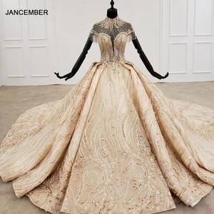 Image 1 - HTL1257 2020 ארוך שמלות הערב גבוה צוואר קצר שרוול ואגלי טאסל applique דובאי ערב שמלות платье на выпускной חדש