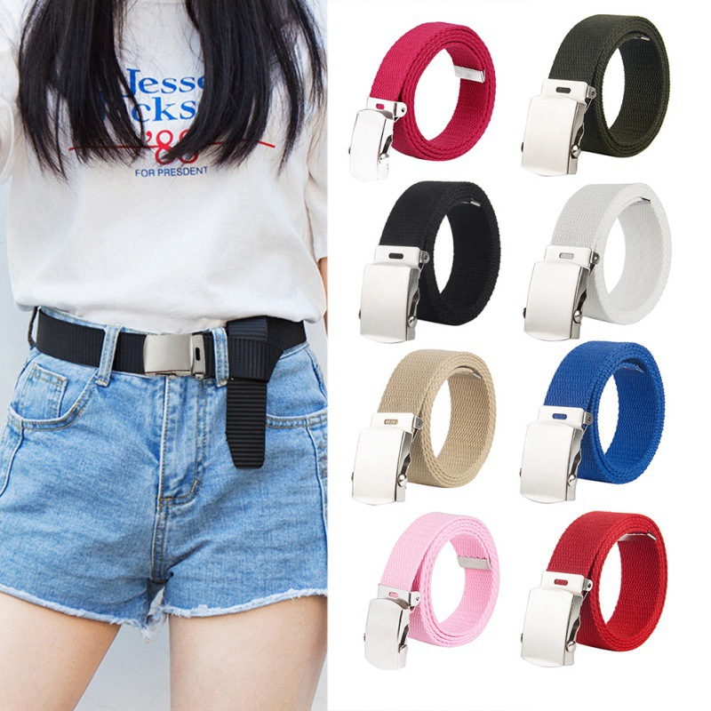 Children Baby Boy Girl Adjustable Metal Buckle Canvas Belt Waistband Apparel Accessories