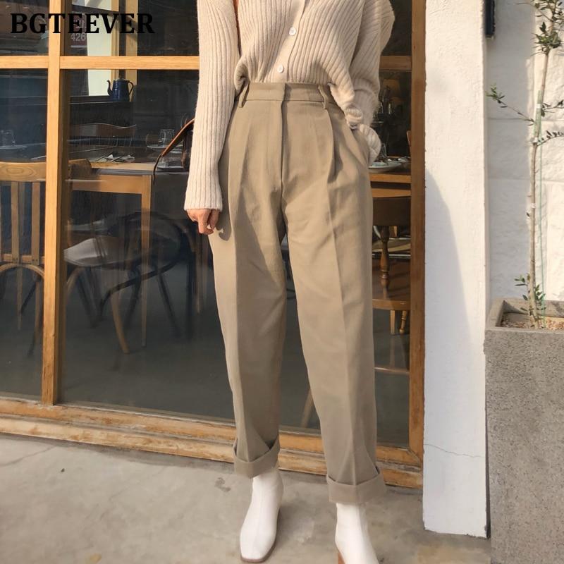 BGTEEVER Fashion High Waist Loose Pants For Women Casual Pockets Long Pants Female Stylish Zipper Fly Capris Femme 2020