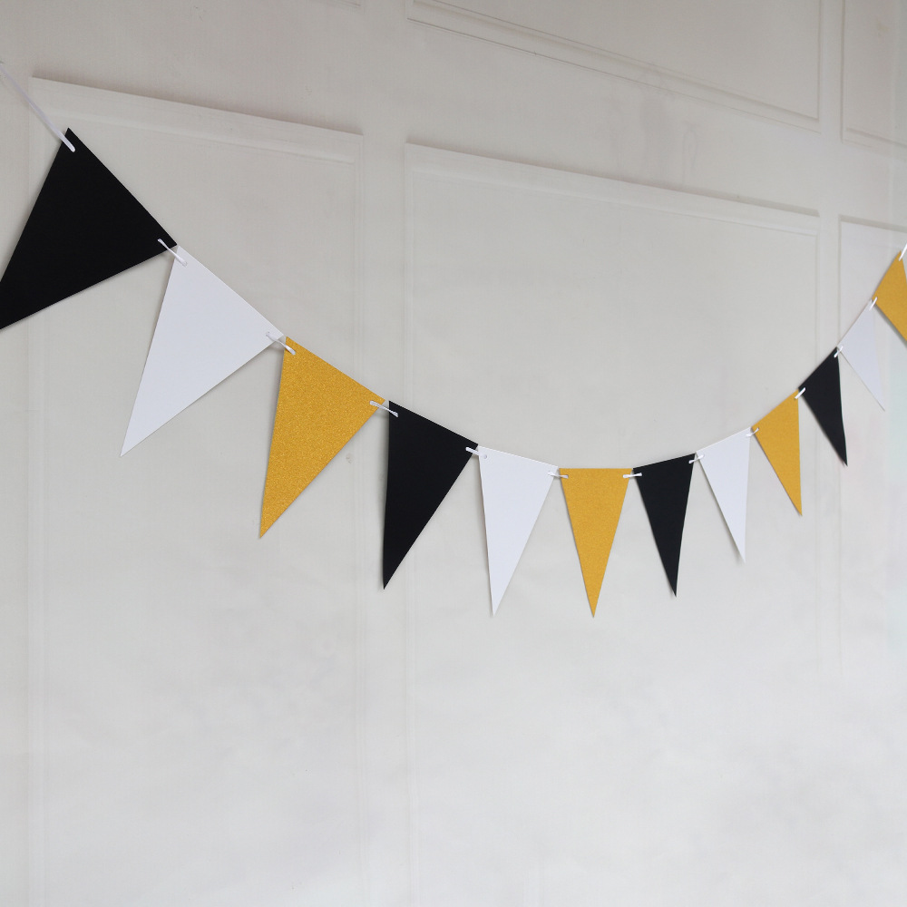 Ins 4M 12 Flags Gold White Black Banner Garland DIY Glitter Bunting Paper Birthday Banner Event Party Wedding Party Decoration