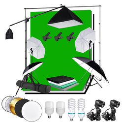 Photo Studio Continuous Lighting Softbox Background Kit 2x3M Background Backdrop Stand Boom Arm Reflector Umbrella 25W 135W Bulb