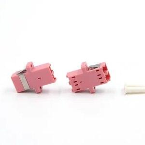 Image 2 - 50 stücke LC UPC duplex OM3 fiber optic adapter aqua LC ftth koppler DX optische faser dual stecker flansch freies verschiffen IL <0.2dB