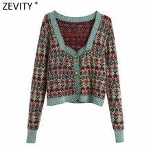 Zevity – pull en tricot à manches longues pour femme, Vintage, couleurs assorties, imprimé Patchwork, cardigan Chic, rétro, S549
