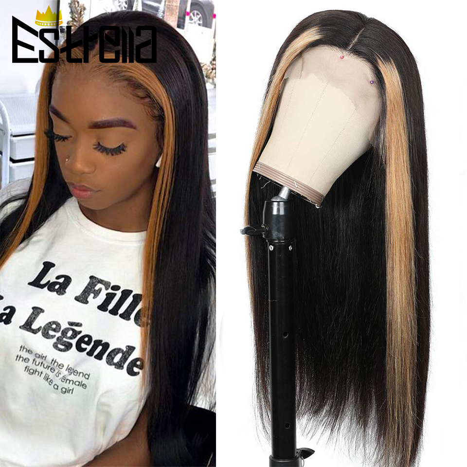 Straight Highlight Lace Closure Human Hair Wigs Ombre Honey Blonde 150% Density Brazilian Pre-plucked 1B 27 Colored 4×4 Lace Wig