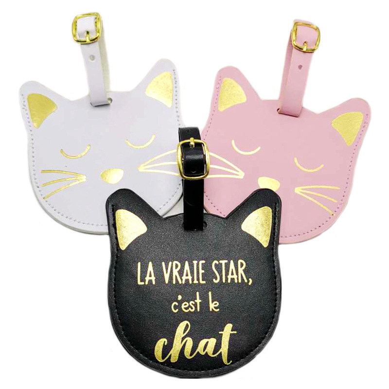 Fashion Animal Cat Luggage Tag Portable Travel Accessories PU Leather Label Suitcase ID Address Holder Women Baggage Boarding