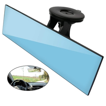 Car Rear View Mirror, Anti-Glare Universal Car Truck Interior Rearview Mirror with Suction Cup Blue Mirror - Reduce Blind Spot a