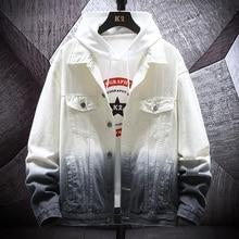 Hip Hop Denim Jacket Men Fashion Wash Gradient Casual Denim Jacket Coat Men Streetwear Loose Bomber Jacket Man Clothes M-5XL camo denim jacket men fashion tie dyed print casual hip hop denim jacket men coat streetwear loose bomber jacket clothes m 5xl