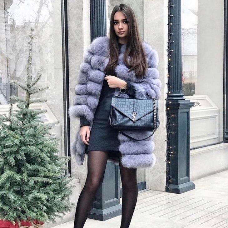 Новая натуральная Шуба из натурального Лисьего меха, зимняя женская длинная стильная куртка из натурального меха, Женская качественная 100% натуральный мех лисы верхняя одежда