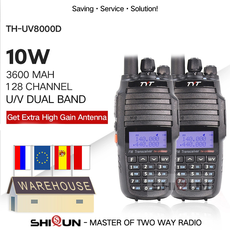 TYT VHF UHF Radio Walkie-Talkie Repeater-Function Cross-Band TH 3600mah 10W 8000E 2PCS