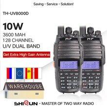 2pcs tyt TH-UV8000D walkie talkie 10 km dupla banda vhf uhf 10w rádio 10 km 3600mah cross-band repetidor função th uv800d 8000e