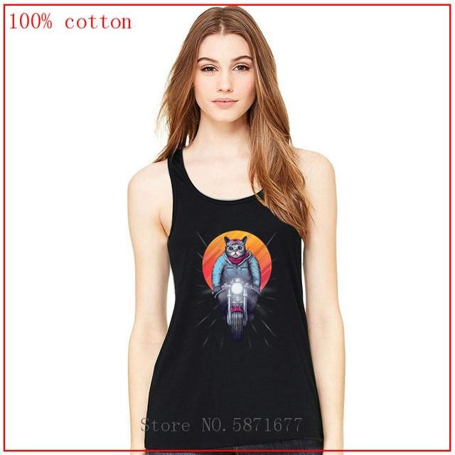Femmes T-shirts coucher de soleil Ride Caferacer vélo chat imprimer Hipster drôle t-shirt femmes été t-shirt chemisier débardeur femmes haut t-shirt