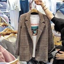2019 autumn and winter new retro loose was thin wild plaid suit woolen jacket female Korean short ch