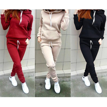 Women Two Piece Set Winter Solid Tracksuits Plus Size Hooded Top