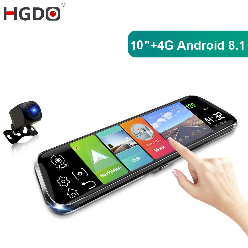 "HGDO 10"" Android 8.1 Rearview mirror dvr 4g Dash cam ADAS GPS Car dvrs Full HD 1080P Auto Registrar Dual lens Video recorder"
