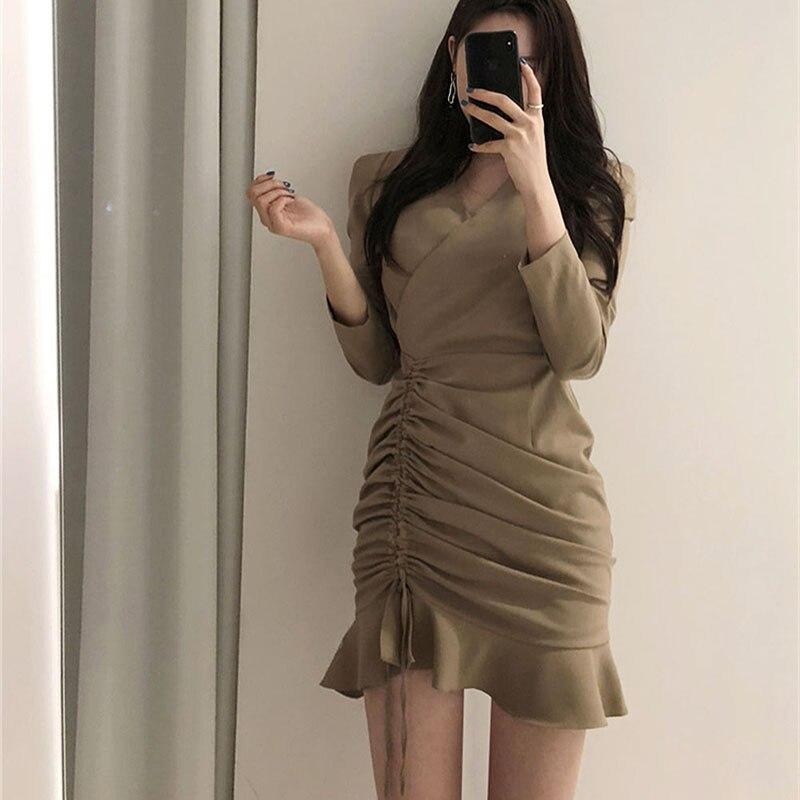 Новинка Осень 2020 французское винтажное платье с оборками на завязках, плиссированное платье с v образным вырезом и длинными рукавами, Корейская Элегантная короткая юбка|Платья|   | АлиЭкспресс