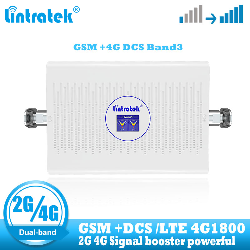 Lintratek  Dual Band GSM 900 4G Lte Dcs 1800 Mhz Signal Booster Cellular Cell Phone Repeater 2G 4G 1800mhz Internet Amplifier