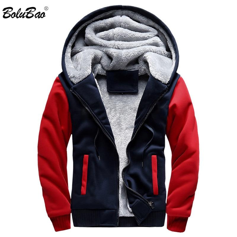 BOLUBAO Fashion Brand Men Hoodies Winter New Men's Patchwork Wild Hoodie Sweatshirts Sports Plus Velvet Thick Hooded Hoodie Male