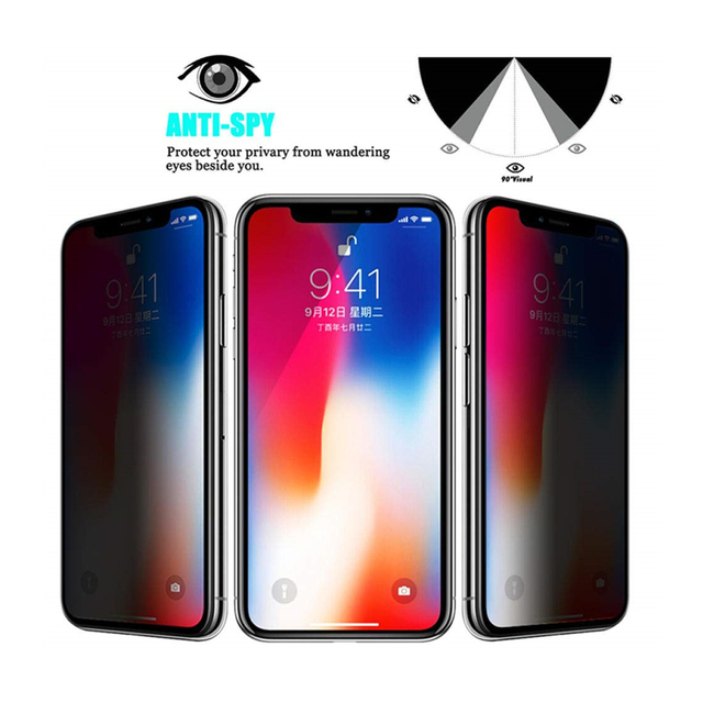 1-4Pcs 30 Degrees Privacy Screen Protectors for IPhone 12 11 Pro Max 13 Mini Anti-spy Protective Glass for IPhone XS XR X 7 Plus 2