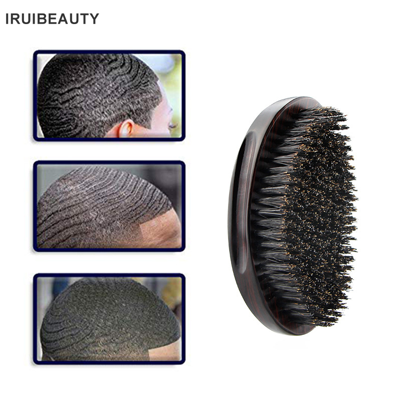Men'S Oval Beard Brush Cleaning Care Tools Bristle Hair Wave Curling Brush Solid Wood Smooth Hair Comb Beard Comb