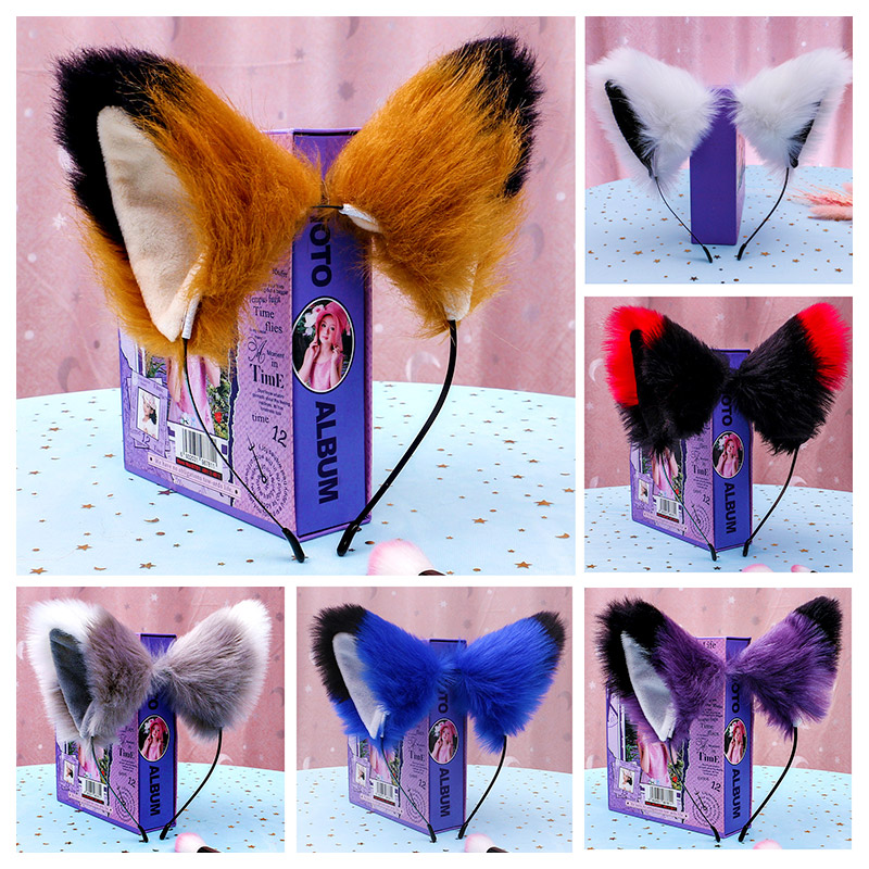 Maid Animal Beast Ear Headwear Hair Hoop Props Simulation Anime Cosplay Cute Plush Cat Fox Ears KC Headband Hair Accessories
