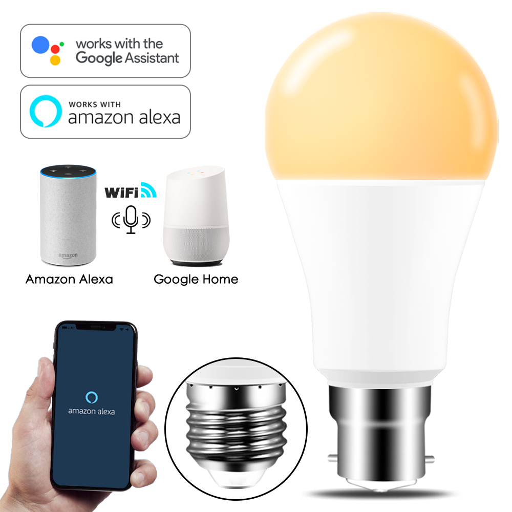 Pode ser escurecido 15 w e27 wi fi inteligente lâmpada led app operar alexa google assistente de controle voz wake up lâmpada inteligente nightlight