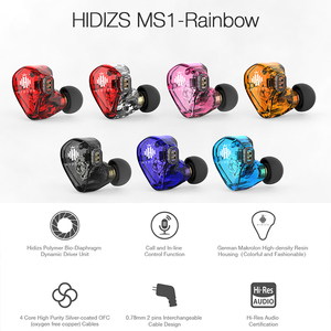 Image 2 - Hidizs MS1 Rainbow HiFi Audio Dynamic Diaphragm In Ear Monitor earphone IEM with Detachable Cable 2Pin 0.78mm Connector