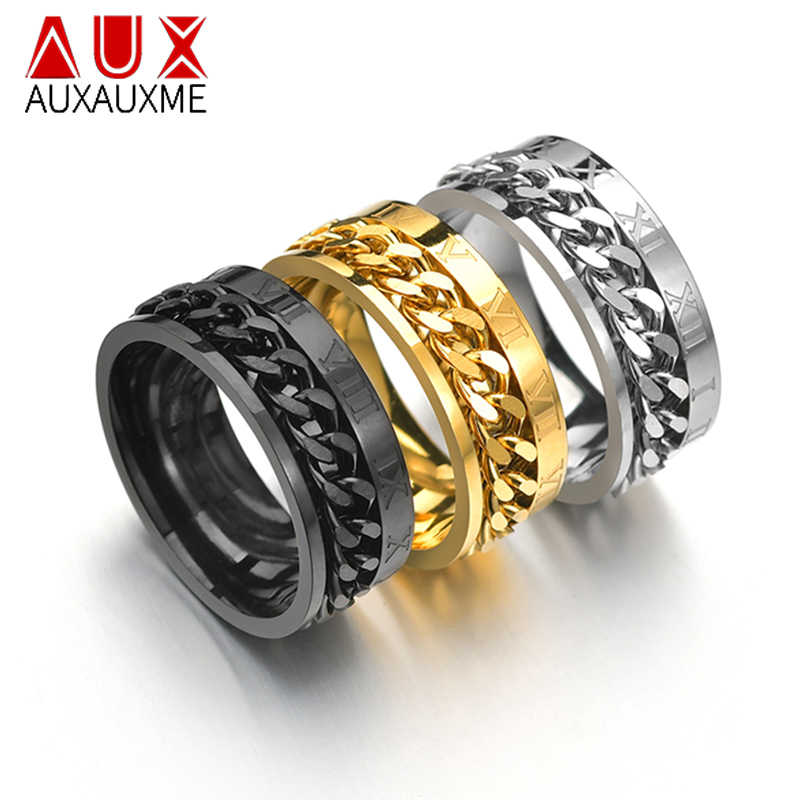 Auxauxme Angka Romawi Spinner Jaringan Ring untuk Pria Titanium Baja Ban Tekstur Rotatable Tautan Punk Pria Anel Aliansi