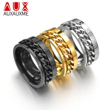 Auxauxme Roman Numbers Spinner Chain Ring for Men Titanium Steel Tire Texture Rotatable Links Punk Male Anel Alliance(China)