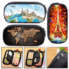 Makeup-Bag Pencil-Holder Stationary Cosmetic-Cases Women School-Supplies World-Map/eiffel-Tower