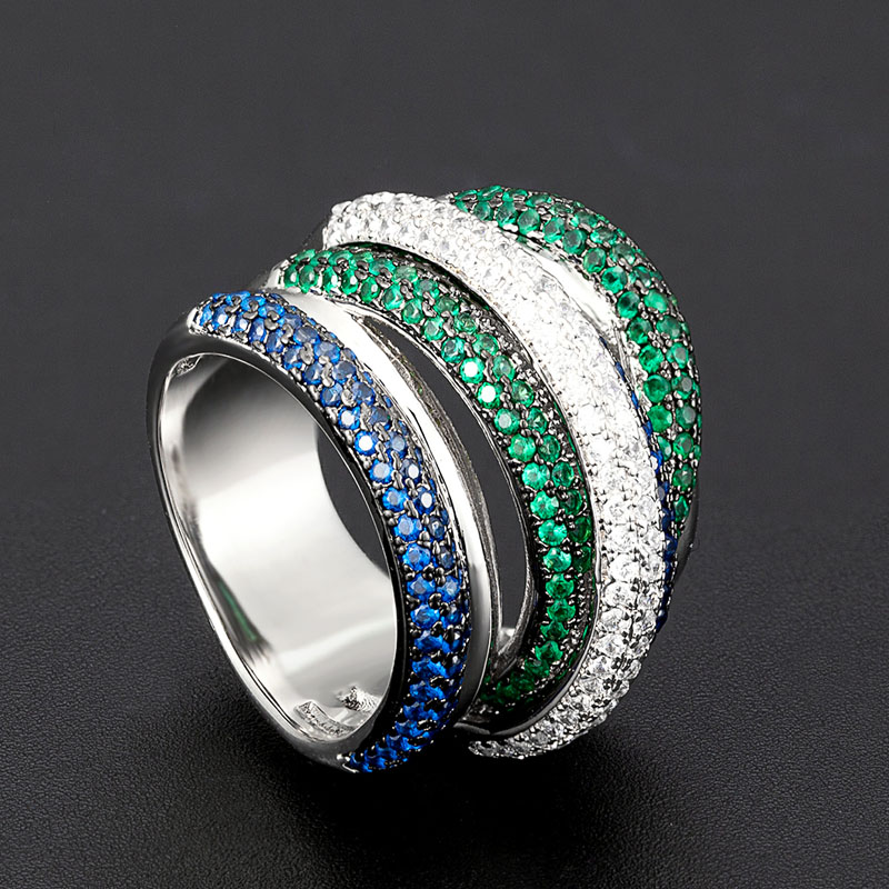 Zlxgirl jewelry blue green white mirco paved zirconia copper wedding ring jewelry women's and men's best couple anel rings