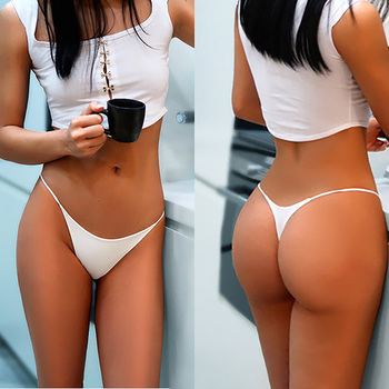 Double Layer Cotton Womens underwear Thin Belt Sexy pure cotton Thongs Low Waist Breathable Traceless Soft water uptake