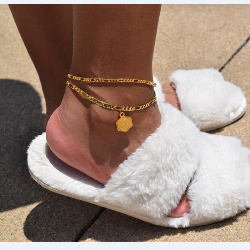 Gold plated Initial Letter Name Anklet for Women adjustable bracelet Foot Chain Anklets gifts Girlfriend Alphabet Jewelry new