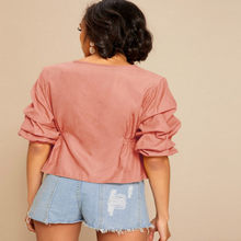 Plus Size Women's Blouse Summer Sexy Women Tops Boho V Neck Short Blouses Woman 2019 Puff Sleeve Elegant Shirt 85863LW822(China)