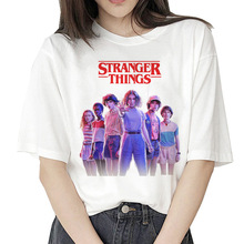Harajuku stranger things camiseta mujer ropa 2019 camiseta mujer streetwear mujer shorts manga vintage camiseta mujer