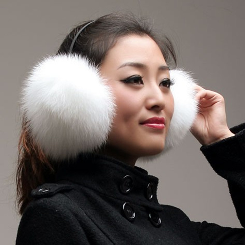 2019 Fox Fur Earmuffs Large Fox Fur Earmuffs Fur Thermal Fur Earmuff Headphones Protect Ears