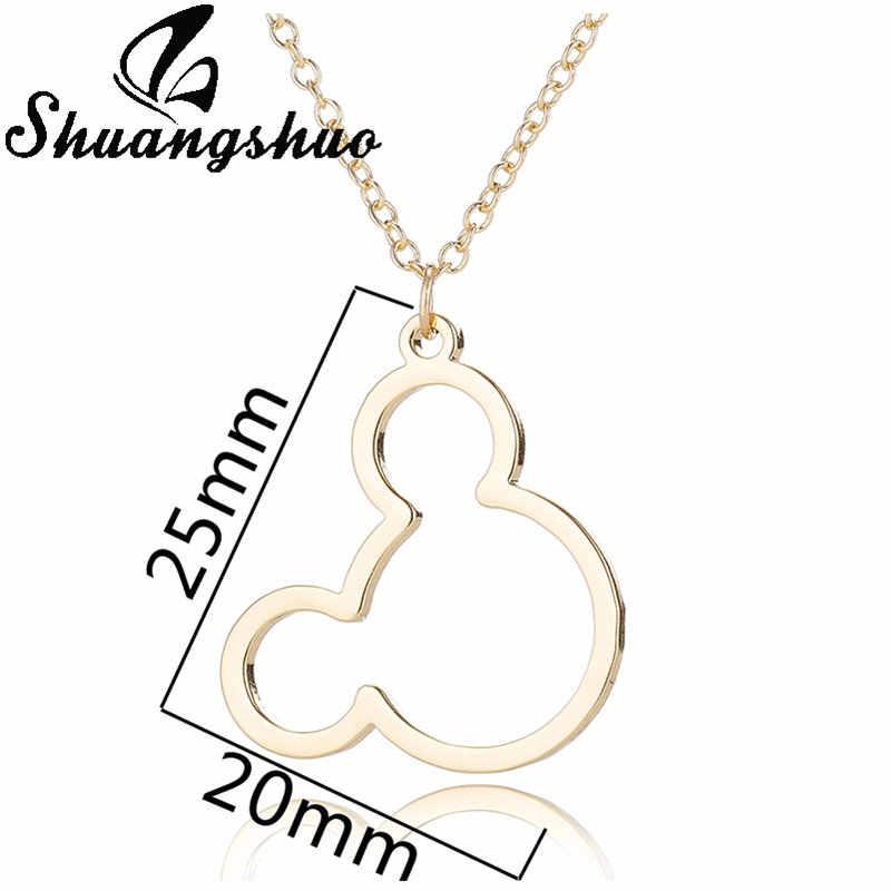 Shuangshuo Cute Perhiasan Mickey Liontin Kalung untuk Wanita Gadis Stainless Steel Mouse Bear Brid Kalung Collares Anak-anak
