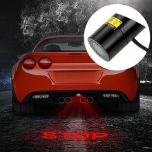 Forauto carro led projeção luz de advertência logotipo da cauda do laser projetor freio automático lâmpada de estacionamento parar manter espaço sinal do carro estilo