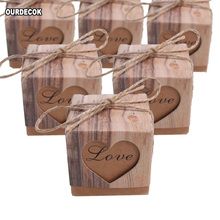50pcs/lot Romantic Heart Candy Boxes for Wedding Decoration Vintage Kraft Paper Favors and Gifts Box with Hemp Rope Twine Chic