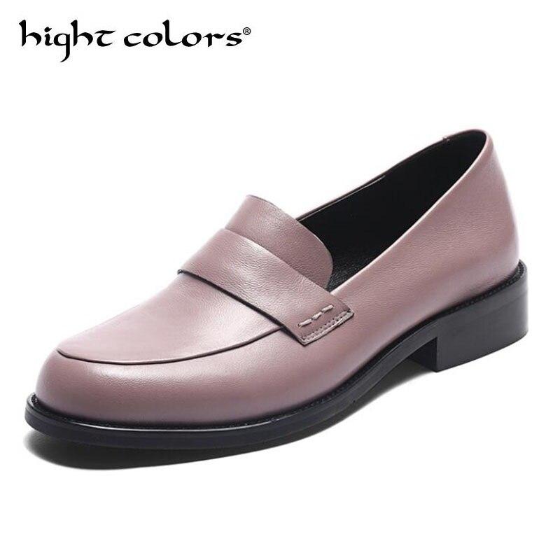 Sapatos femininos oxford sapatos de trabalho formal calçado preto apartamentos deslizamento on retro couro genuíno sapatos femininos de casamento mocassins