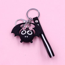 3D Cartoon Keyring Pvc Plastic Doll Black Bat Key Chains Promotion Gift Keychain Cute Surrounding Kid Men Mood Tracker Rubber anime spirited away keychain black carbon coal ball dust elf doll pendant keyring miyazaki hayao movie same key chains kid gift