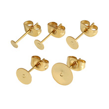 Real Gold Plated Stainless Steel Blank Post Earring Studs Base Pins With Earring Plug Findings Ear Back For DIY Jewelry Making