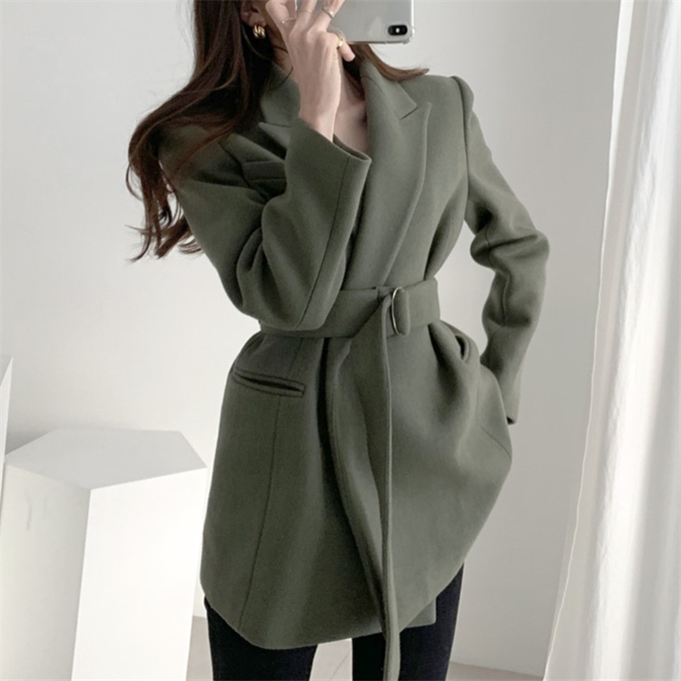New 2020 Spring Winter Women's Blazers Woolen Pockets Formal Jackets Outerwear Lace Up Office Lady Wild Tops JK8033-1