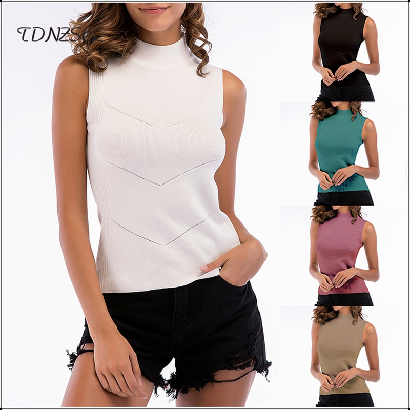 2020 Casual Slim Sleeveless Tank Blouses For Women Solid Color Ladies Cotton Summer Blouses Turtleneck Knitted