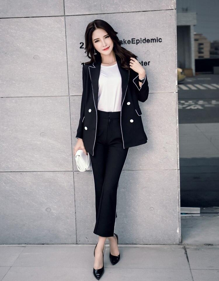 New Work Pant Female Suits Fashion Autumn Spring Female 2 Piece Sets Striped Blazer Jacket & Zipper Trousers Suit For Women Set
