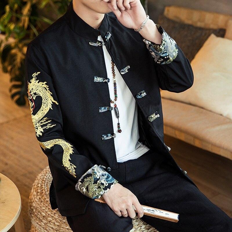 Tang Traje Hombres y Mujer Tradicional Chino Ropa Trajes Hanfu Kung Fu Camisa De Manga Larga Abrigo De Los Hombres Tops