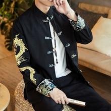Traditional Chinese Style Embroidery Dragon Hanfu Blouse Tang Suit Men Kungfu Shirts Tops Jacket Cheongsam New Year Coats KK3246