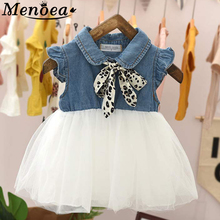 Baby Dress 2019 Summer Bow Design Belt Pearl Girl Sleeveless Cute Newborn Yellow Kids Clothes