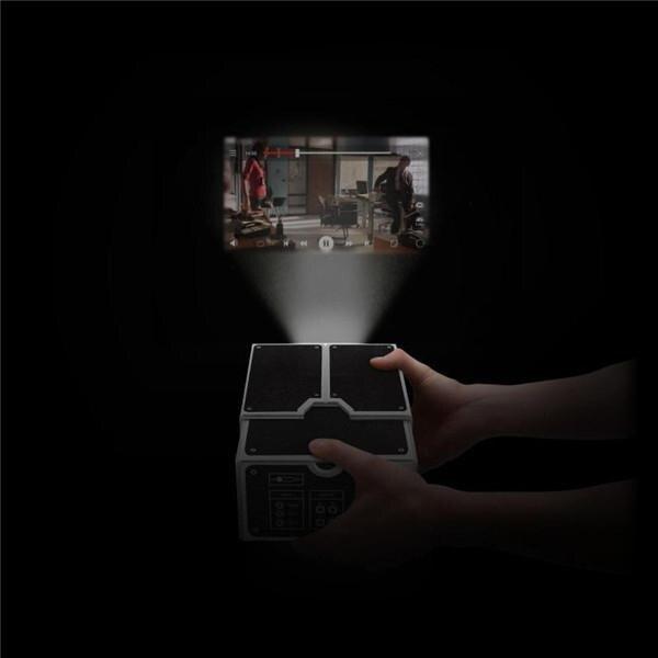 Projetor de papelão para smartphones 3d, cinema portátil, luz ajustável, home theater pico-2