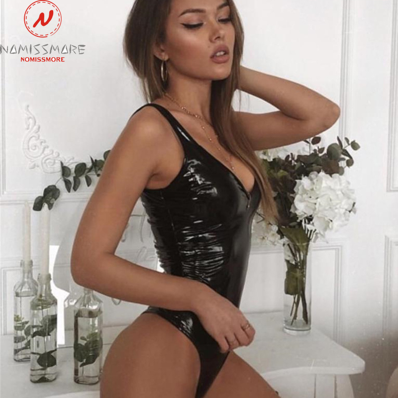 Women PU Leather Bodysuits for Streetwear Patchwork Design Sleeveless Deep V Backless Solid Color Skinny One Piece Body Tops